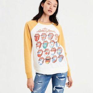 AEO Rolling Stones Raglan Sweatshirt Yellow Small